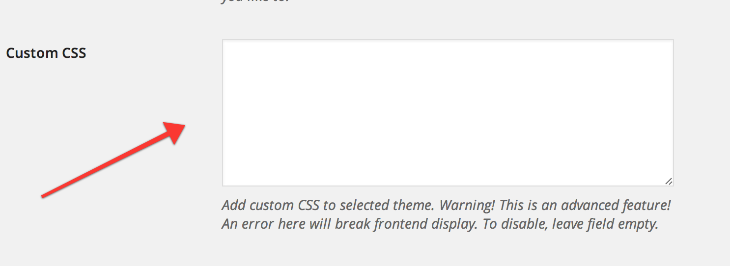 Add custom CSS to the selected theme.